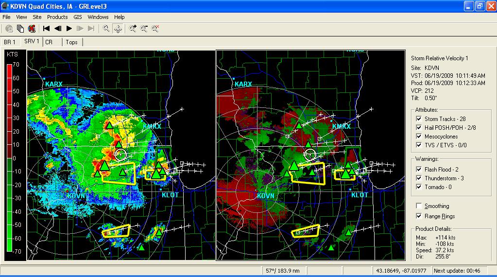 KLOT radar at 1017CDT